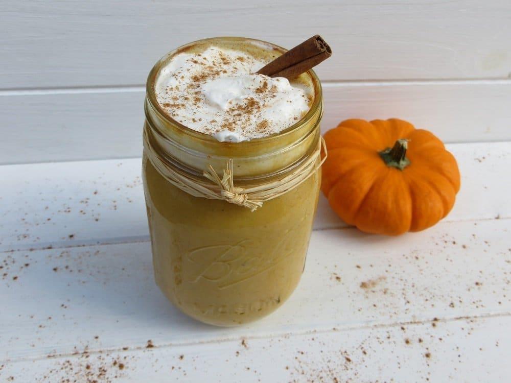 pumpkin spice kefir smoothie in a jar