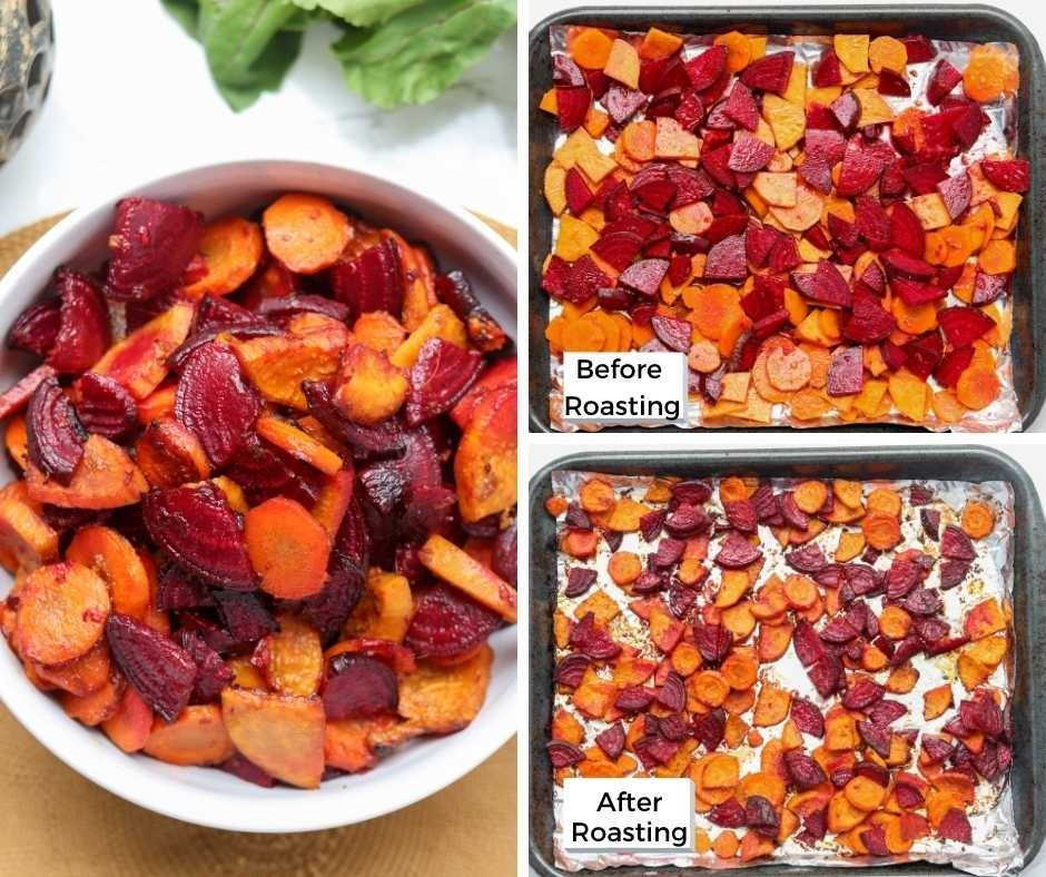 collage of root vegetables before and after roasting