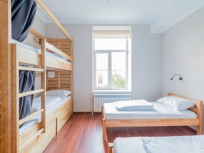 female hostel dorm room with four beds