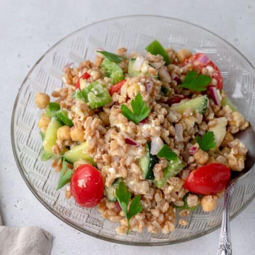 mediterranean farro salad on a plate