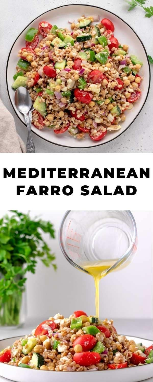 mediterranean farro salad pin