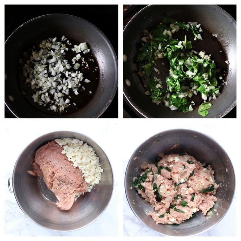 Collage of steps for sautéing the spinach and onions