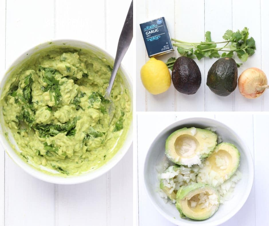 collage of ingredients for super simple guacamole