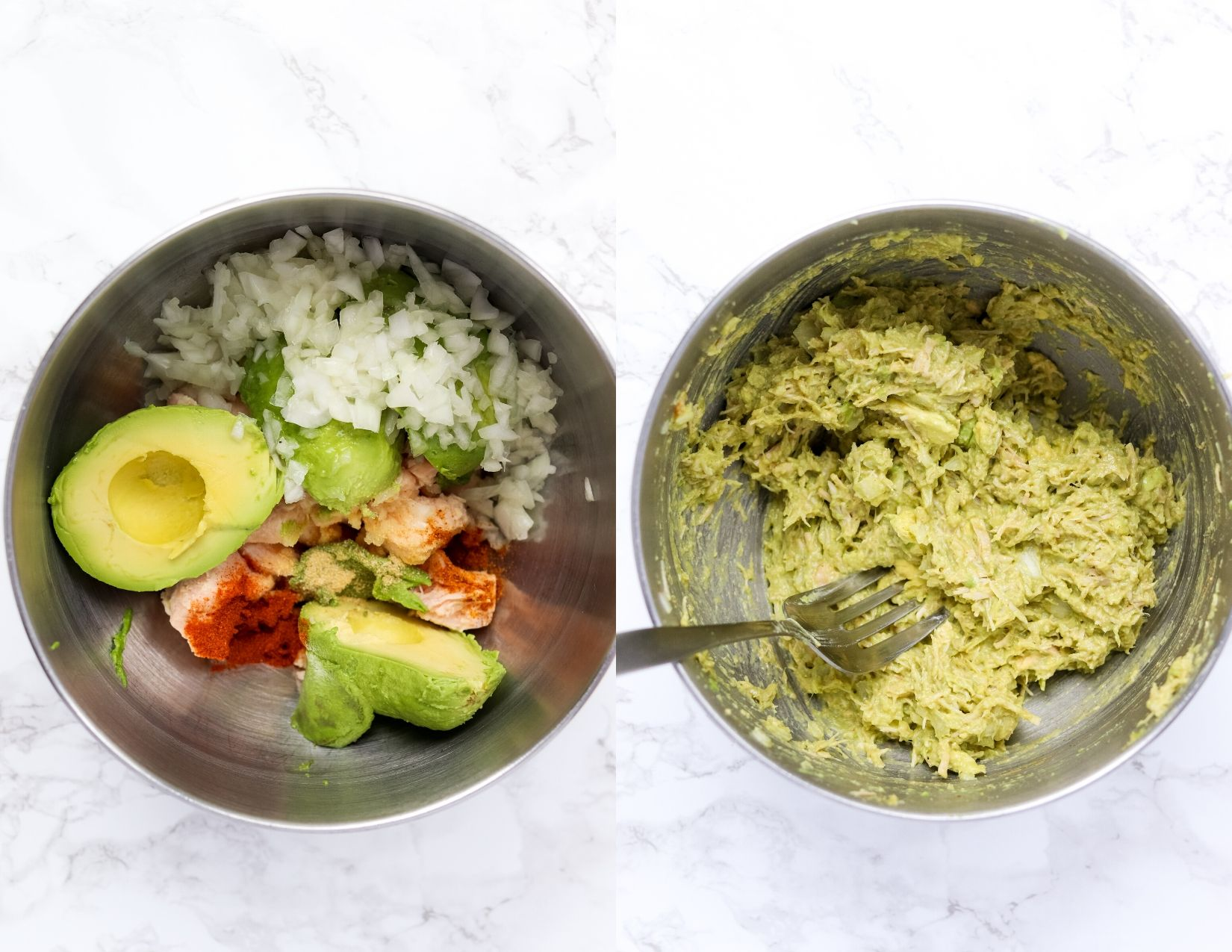 collage of avocado, canned chicken, spices and onion in a bowl and then mashed with a fork