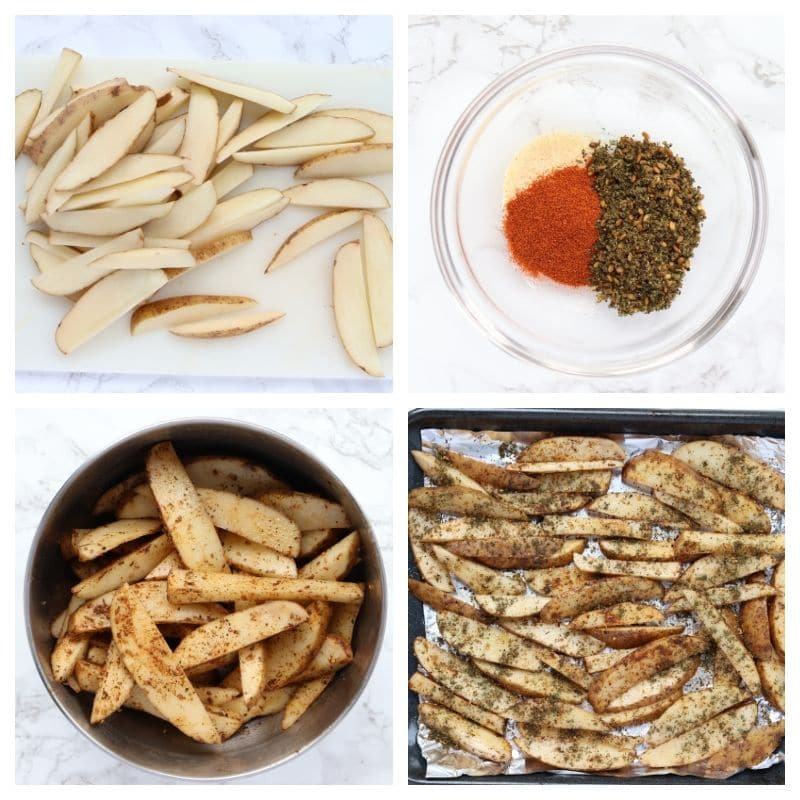Collage of steps to make potatoes baked fries
