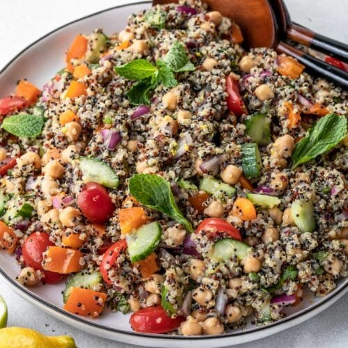 zesty quinoa salad with mint leaves