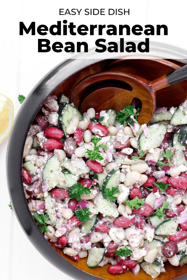 zesty mediterranean bean salad pin