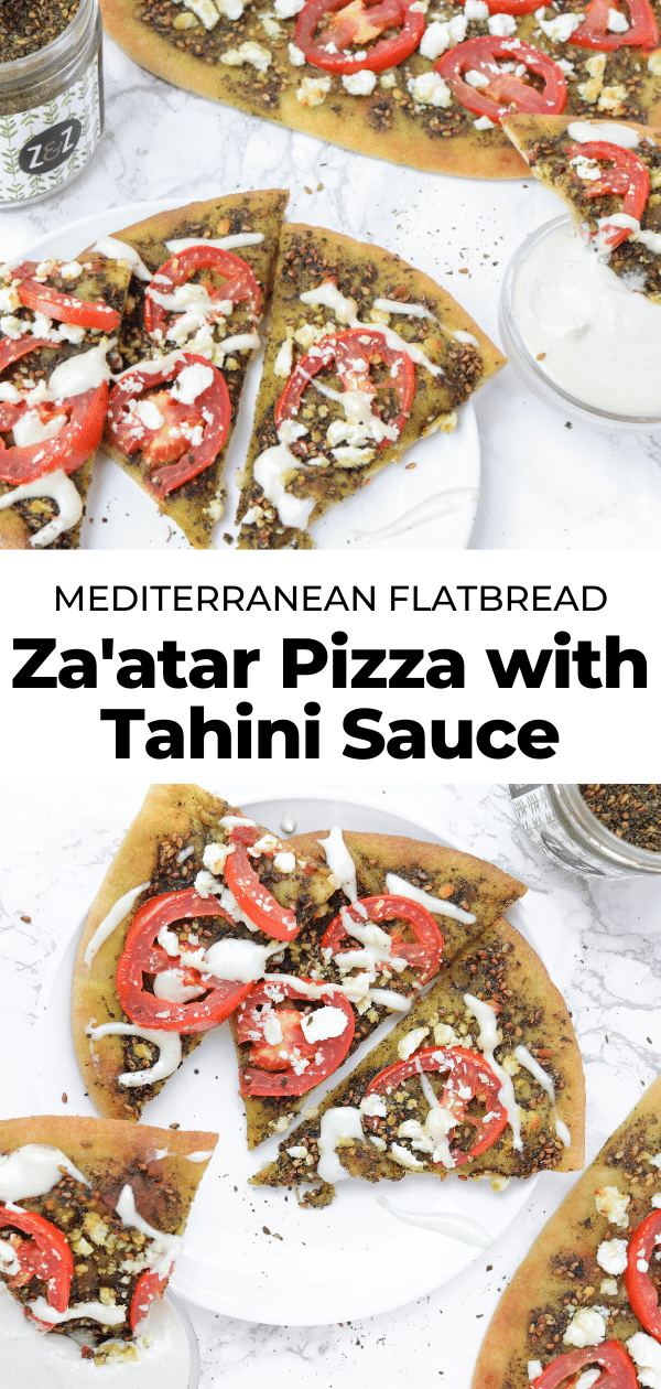 zaatar pizza with tahini sauce pin