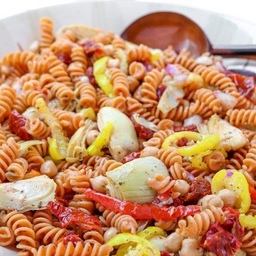 prepared gluten free Mediterranean pasta salad in a large bowl