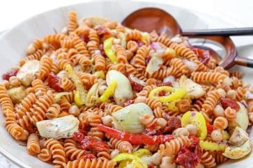 prepared gluten free Mediterranean pasta salad in a large bowl