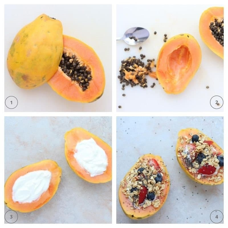 collage of steps for cutting, scooping and filling a papaya