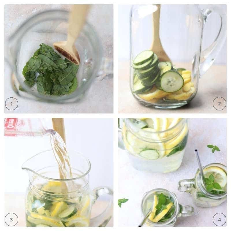 collage of steps to making homemade flavored water