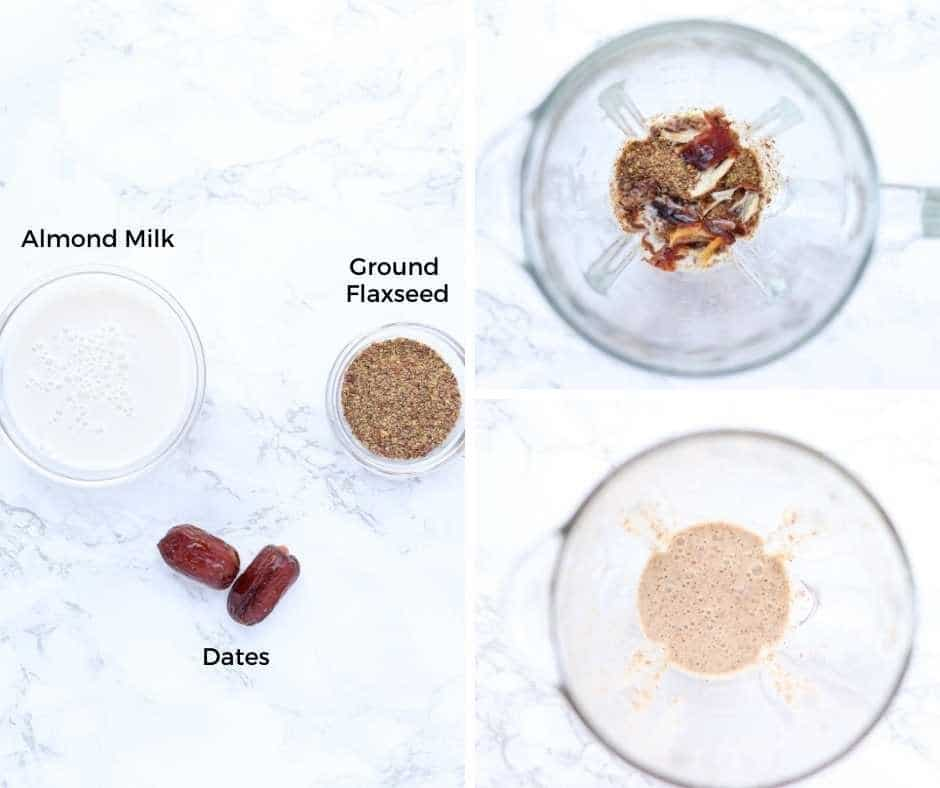 almond milk, ground flaxseed and dates before and after blending
