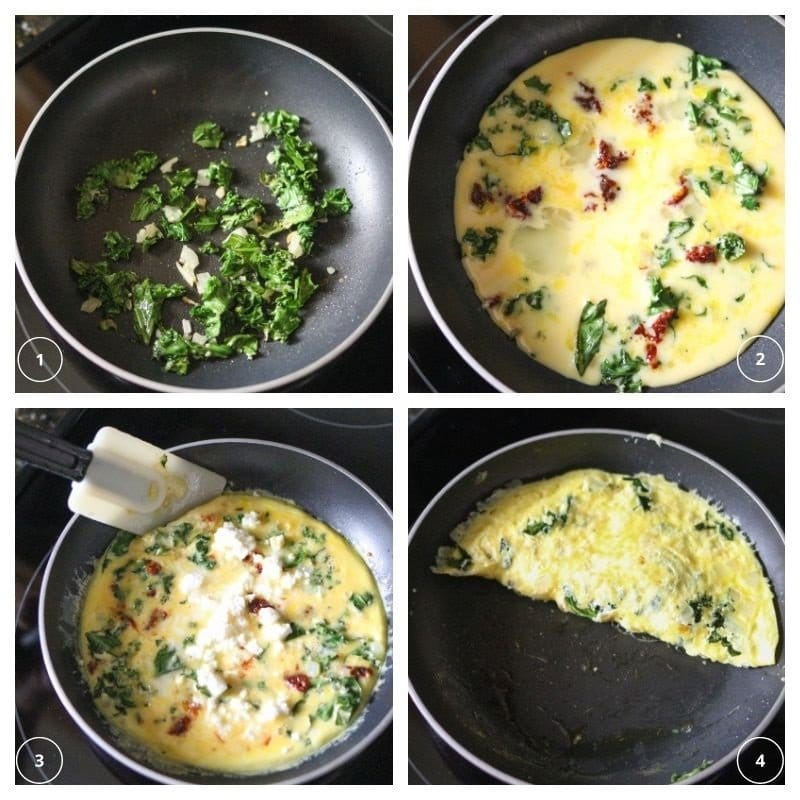 collage of kale and onions sautéing and eggs cooking on the stove