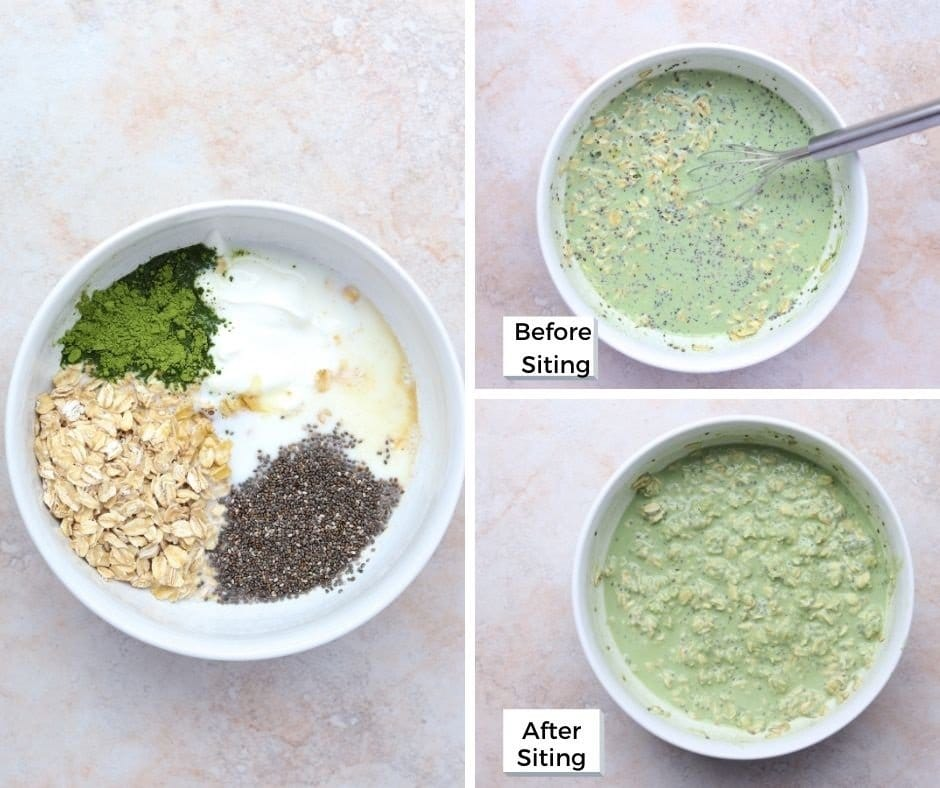 collage of oats, yogurt, matcha powder and chia seeds in a bowl before and after mixing