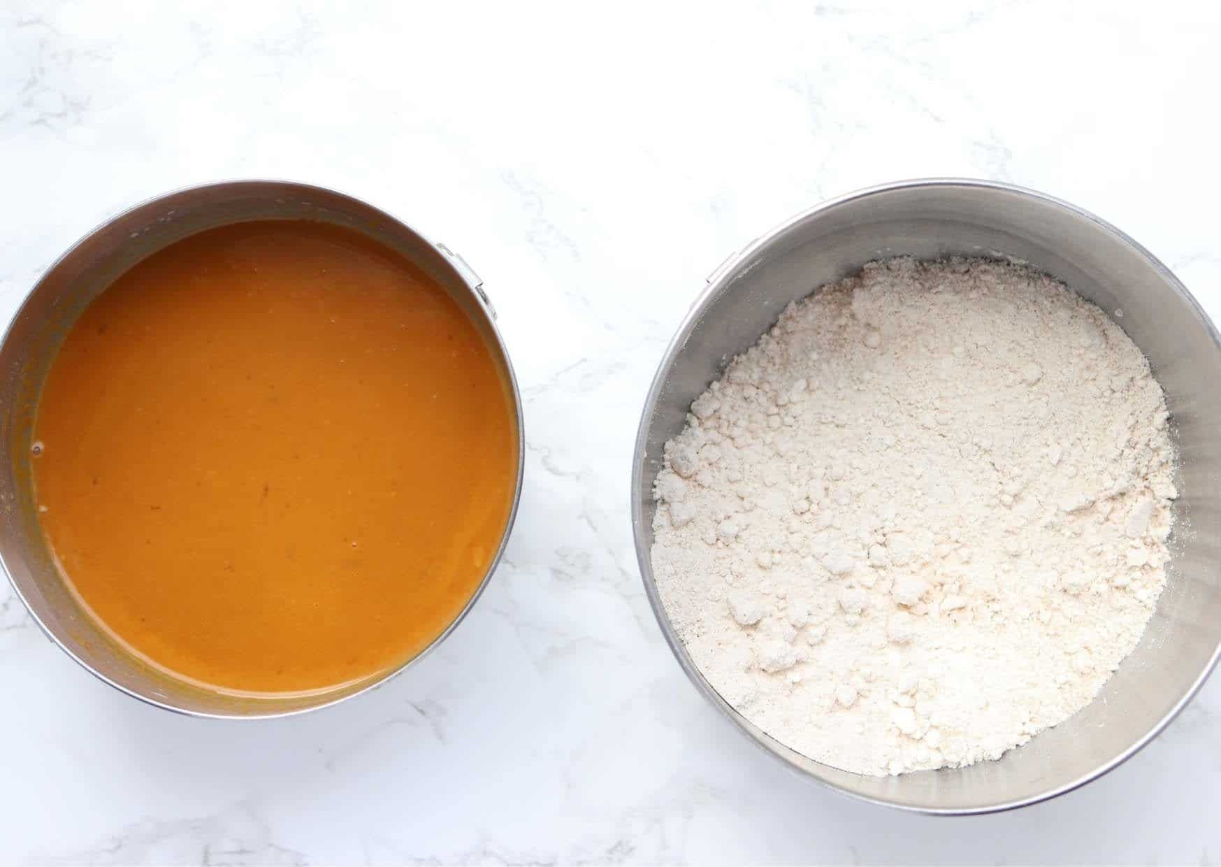 bisquick and dry ingredients in one bowl and wet ingredients in a smaller bowl