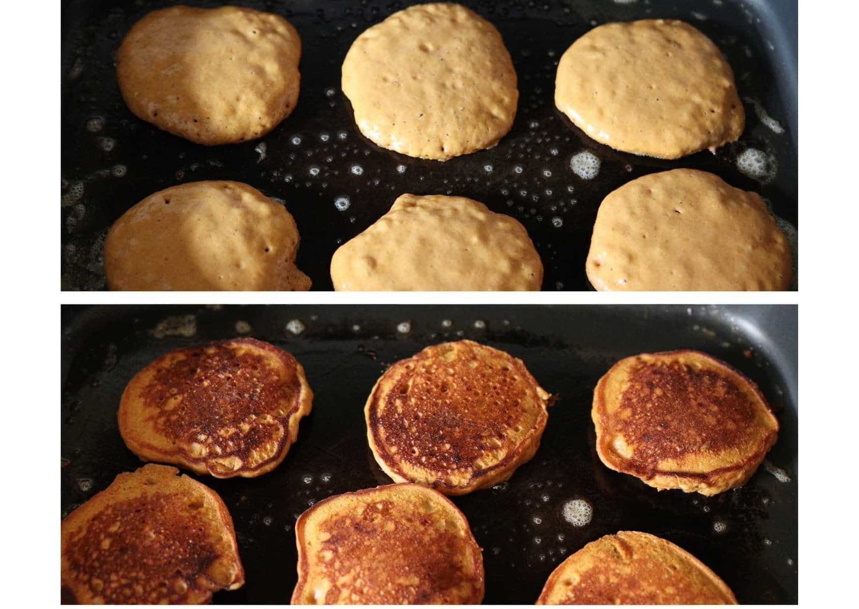 before and after flipping pancakes on the griddle