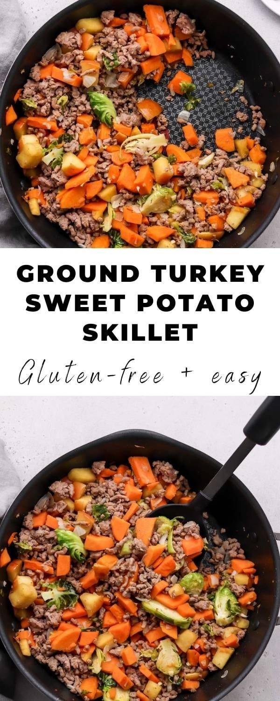 turkey sweet potato skillet pin