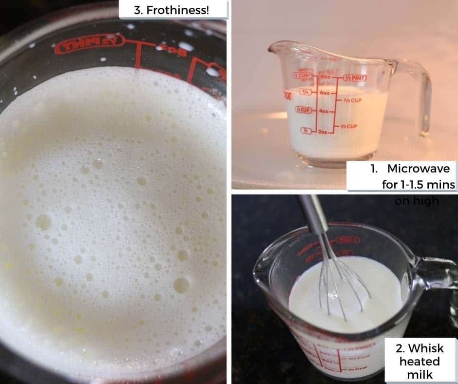 microwaving milk and whisking it to create frothy milk