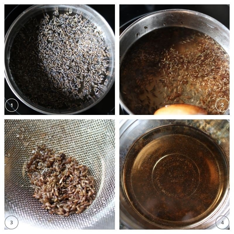 4 step collage to make lavender syrup on the stove