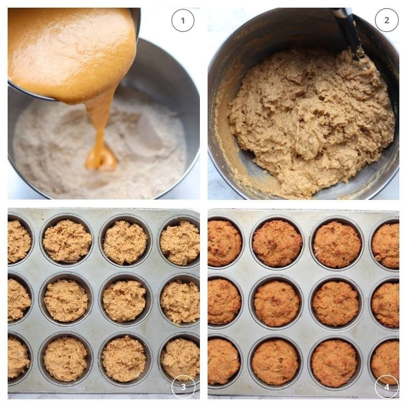 collage of making the pumpkin protein batter for the muffin tins