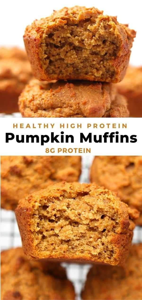 whole wheat protein pumpkin muffins pin