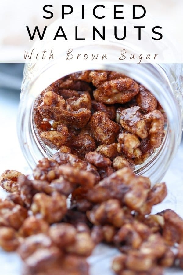 spiced walnuts with brown sugar pinterest pin