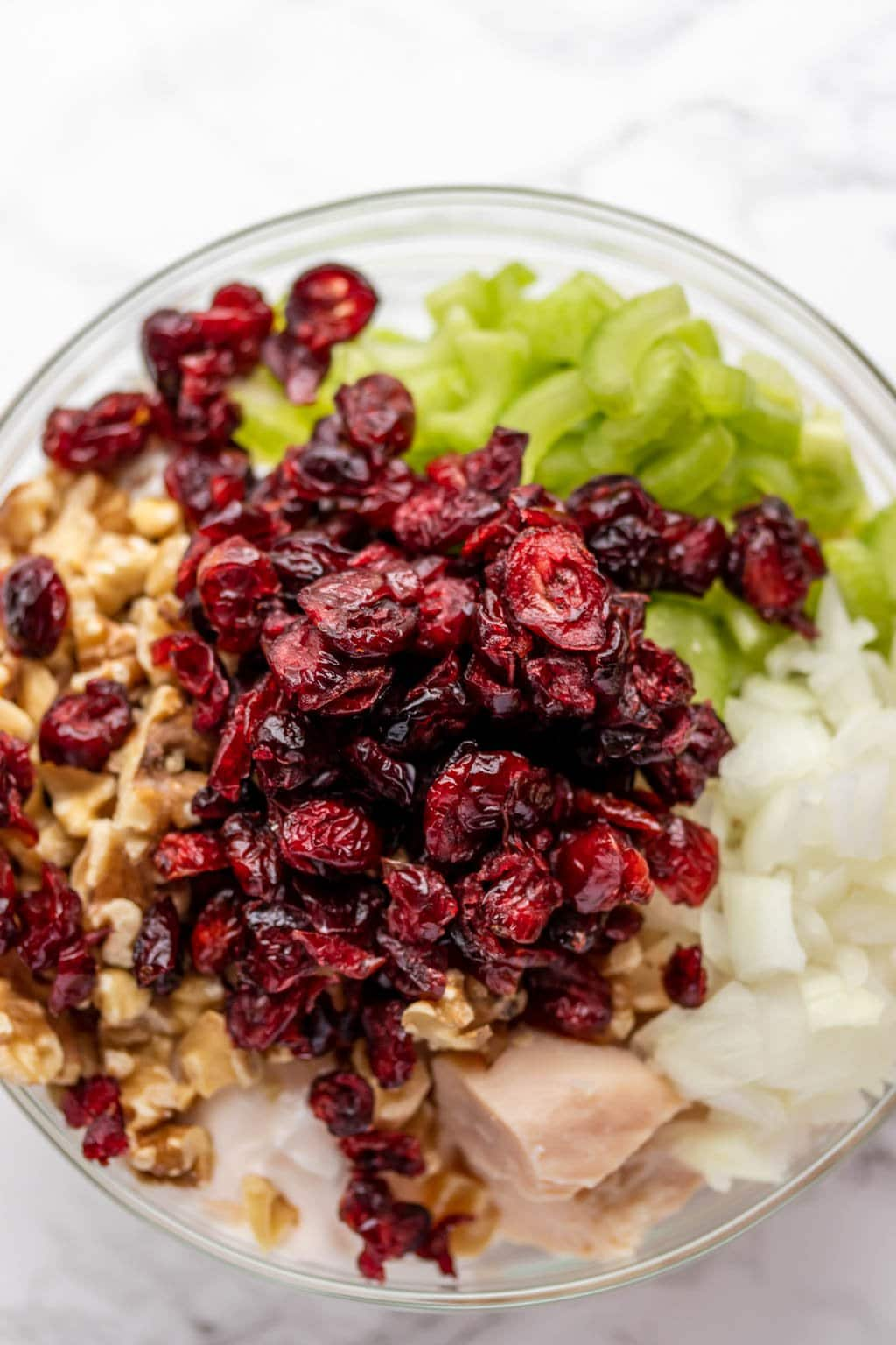 cranberries, walnuts, chicken, celery and onion in a bowl