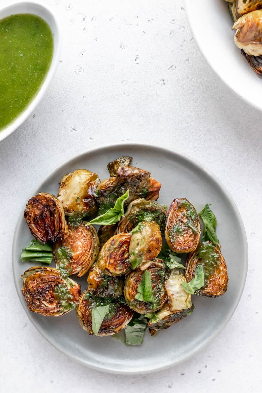 basil dipping sauce and roasted brussels sprouts