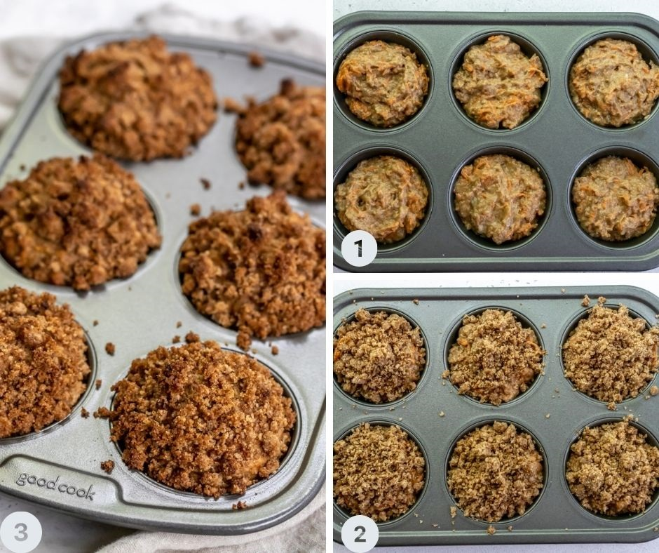 muffin tin filled with batter