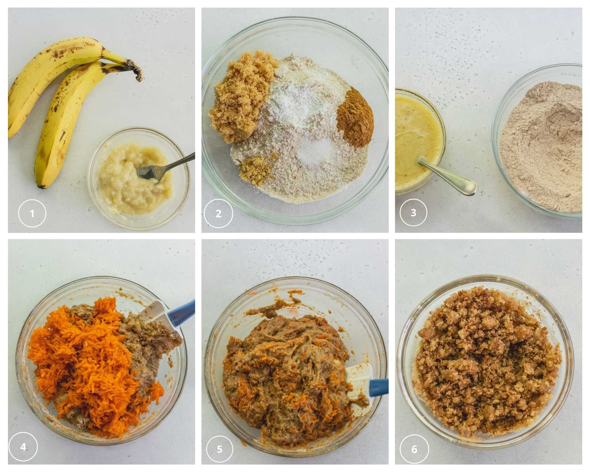 steps to make muffins with mashed bananas and grated carrots