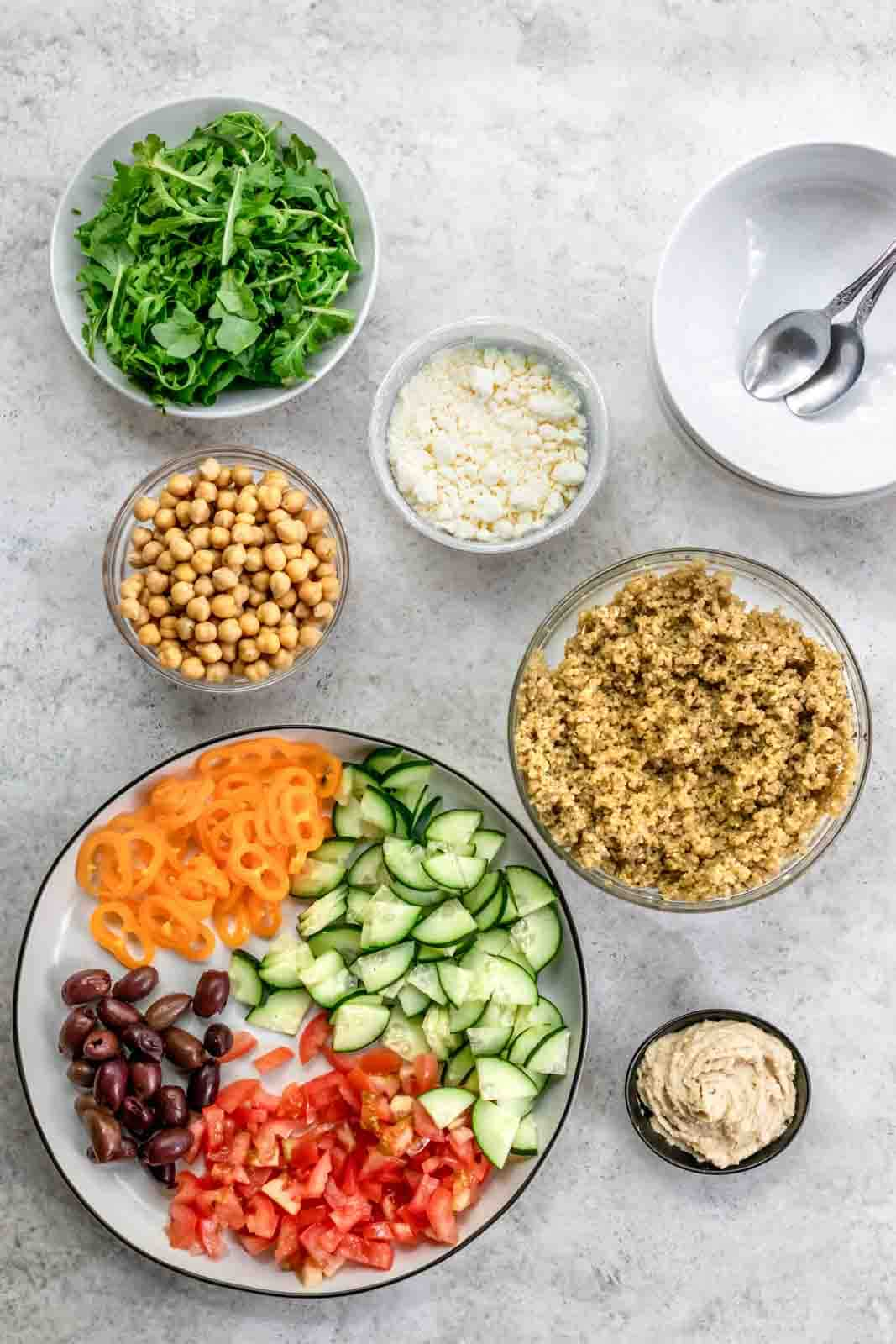 shot of recipe ingredients in separate bowls