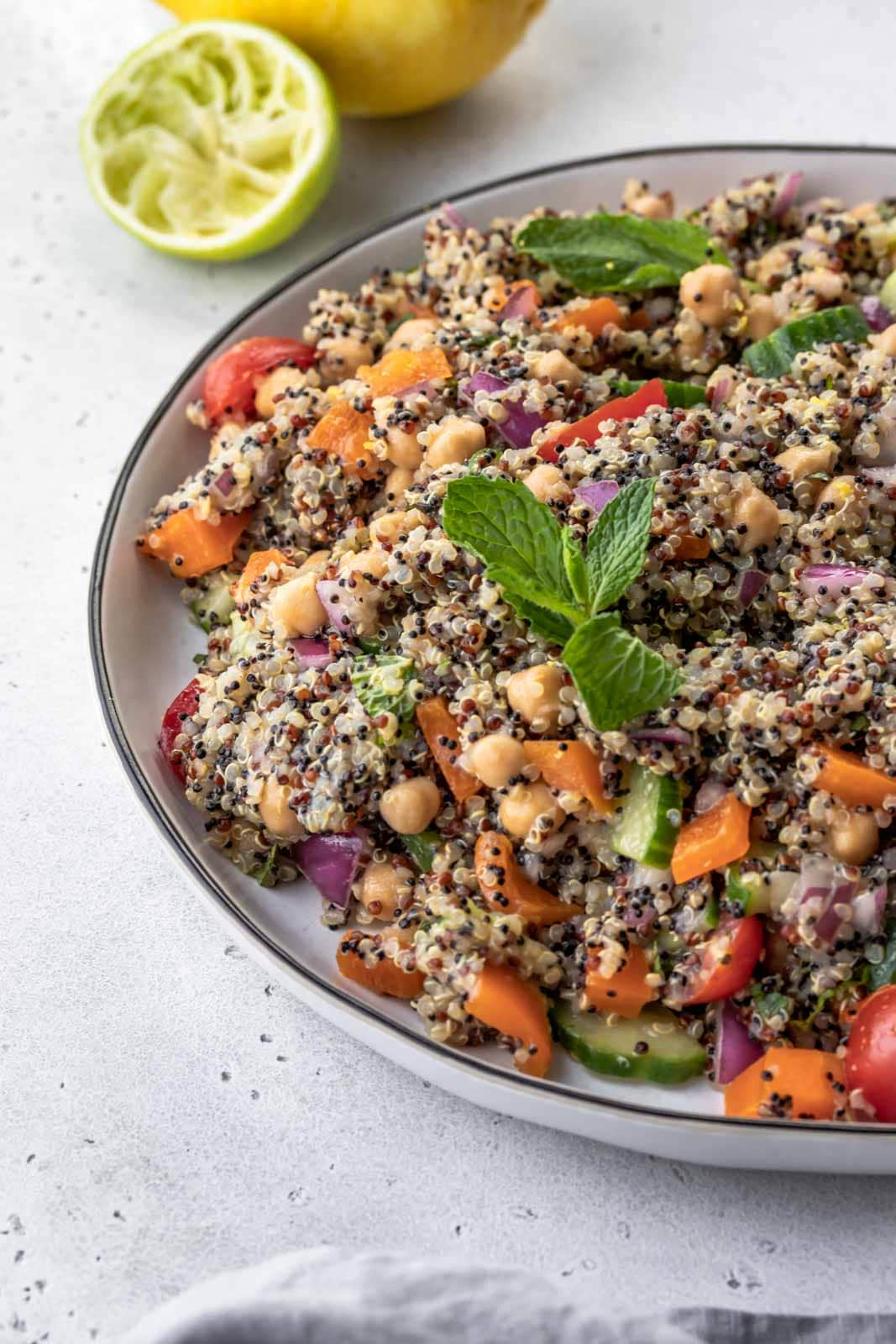 mint leaves garnishing quinoa salad