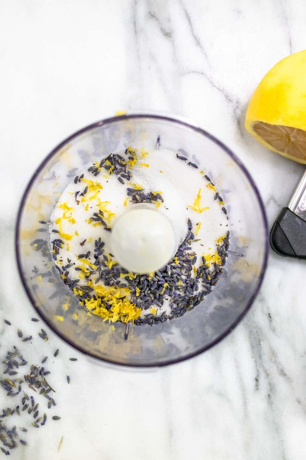 sugar, lemon zest and lavender buds in food processor