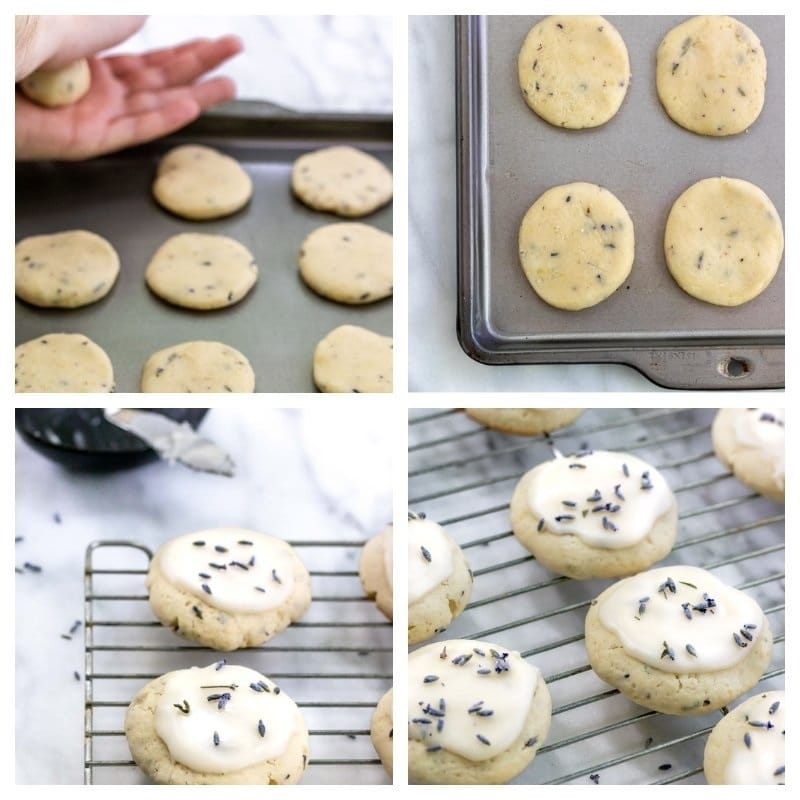 collage of rolling cookie dough to glazed cookies