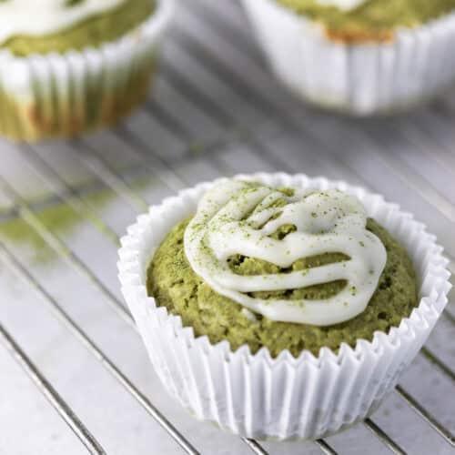 lemon blueberry matcha muffins