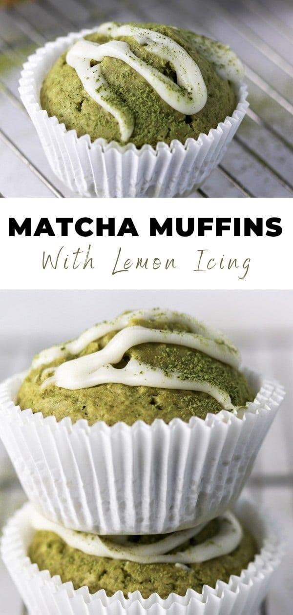 blueberry lemon matcha muffins pin