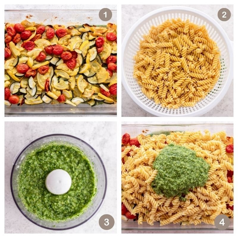 collage of roasted squash and tomatoes, pasta and pesto sauce