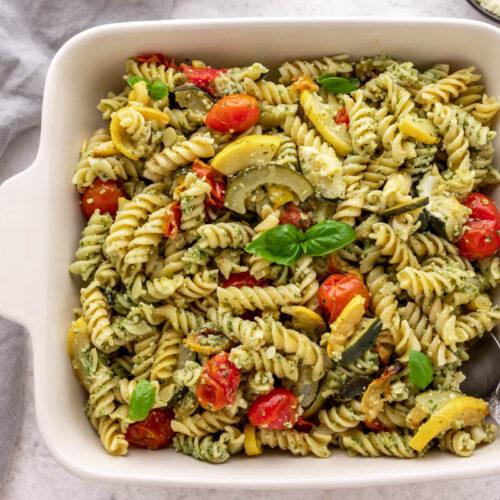 basil pesto pasta with roasted veggies