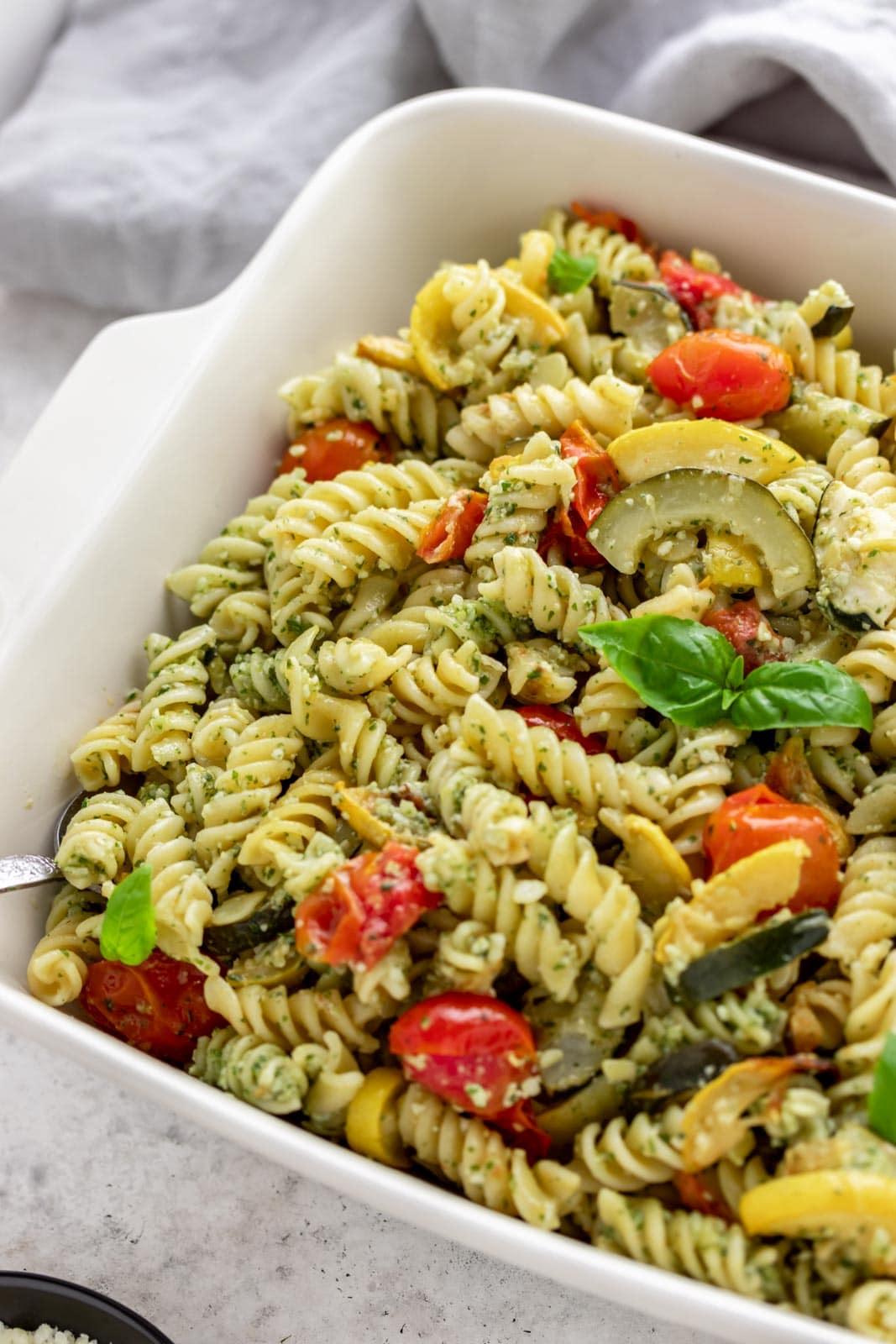 basil leaves garnishing pasta