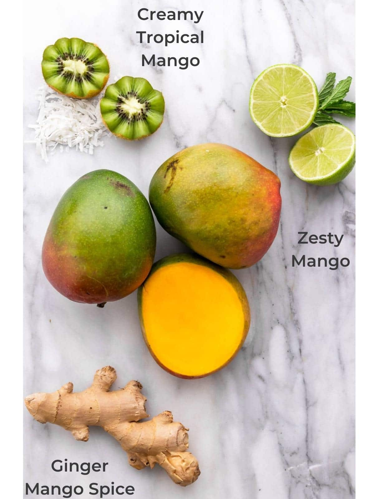 ripe mango, ginger root, kiwis, limes and mint