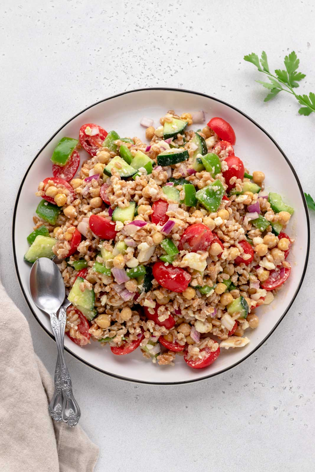 mediterranean vegetables with farro and feta cheese