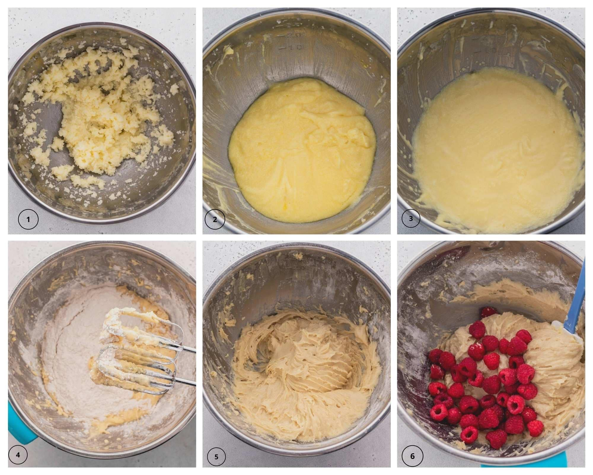 Making the loaf batter with raspberries step by step