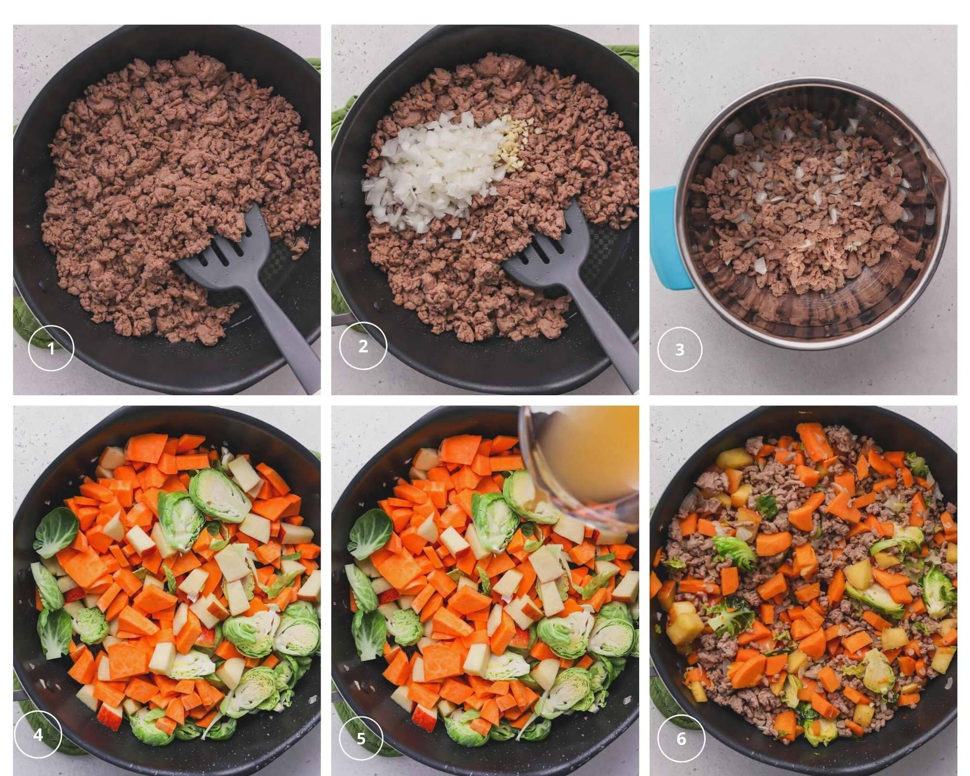 collage of sweet potatoes and turkey cooking
