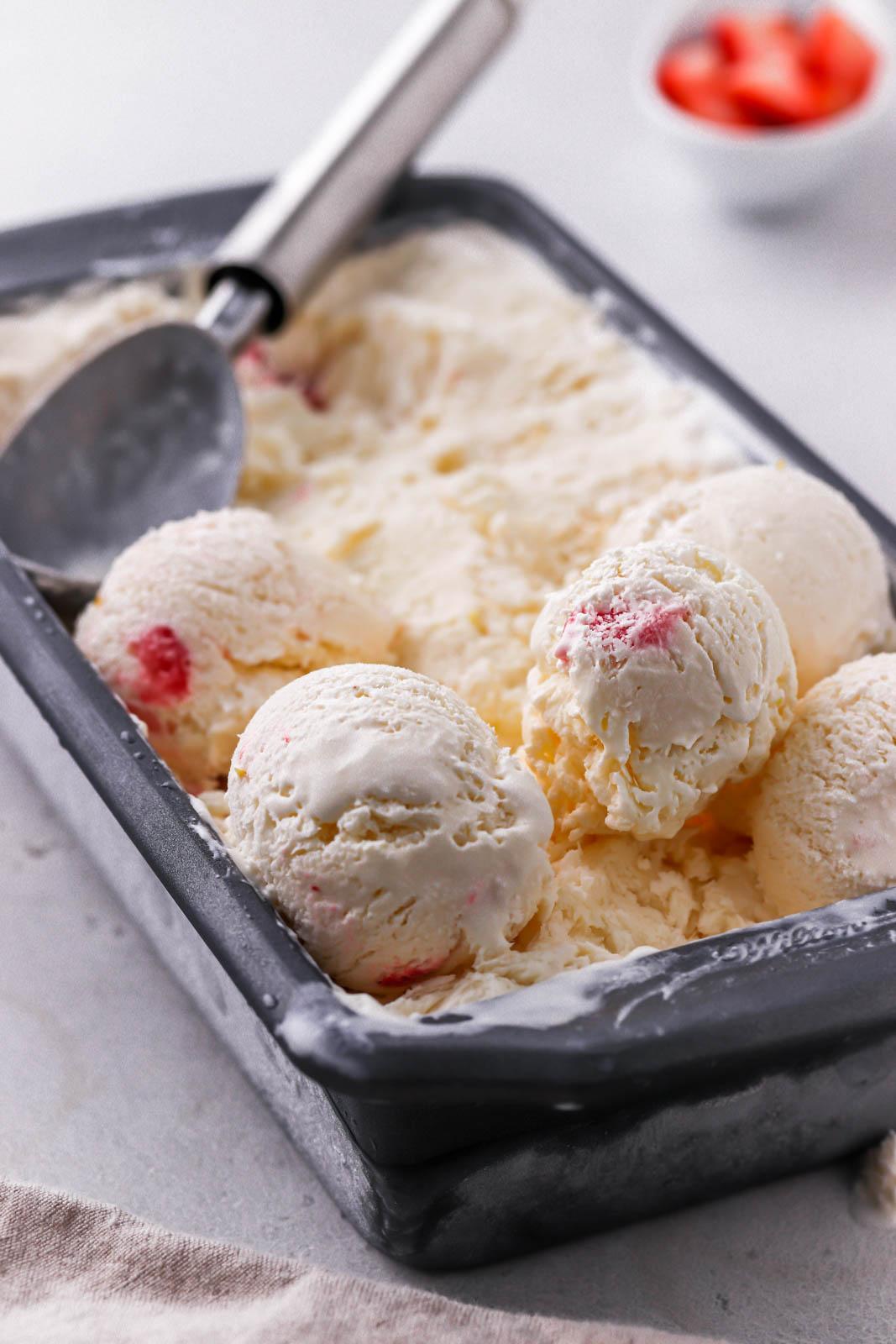 ice cream scoop in homemade ice cream