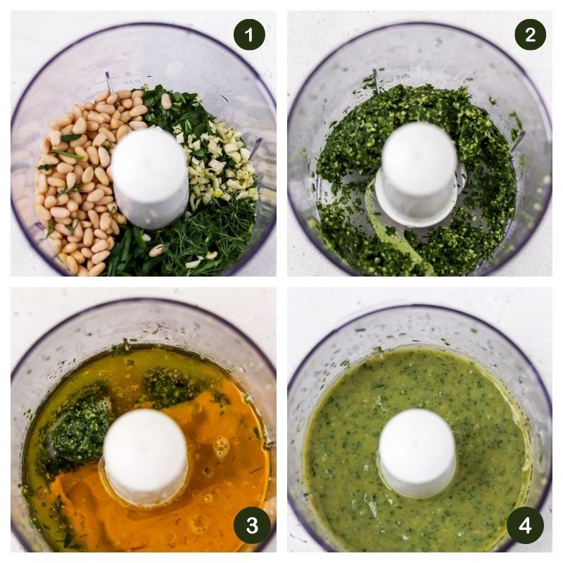collage of pine nuts, tahini, herbs and lemon blended in a food processor