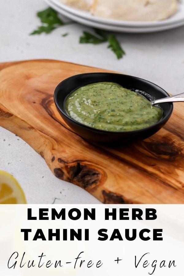 herb tahini sauce pinterest pin